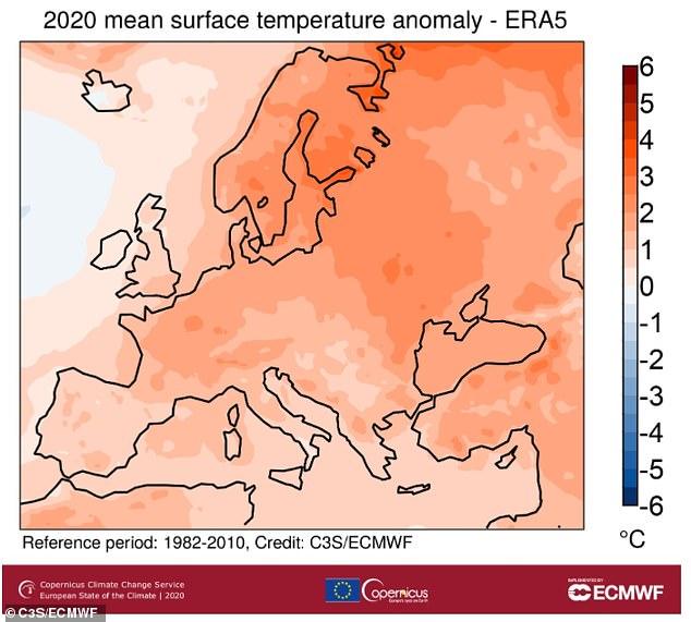 Europa tuvo su año más cálido registrado en 2020. La imagen muestra una anomalía de temperatura del aire en la superficie promedio para 2020 en relación con el período de referencia 1981-2010 (en ° C)