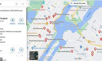 Ubicaciones de vacunas en la ciudad de Nueva York en Google Maps.  Esta semana la empresa inocula los sitios de Maps and Search en EE. UU., Canadá, Francia, Chile, India y Singapur.
