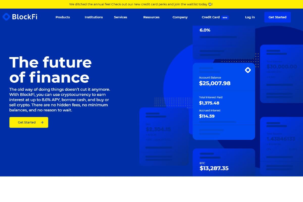 BlockFi: Sin tarifa anual en la tarjeta + Bonificación por nuevo depósito