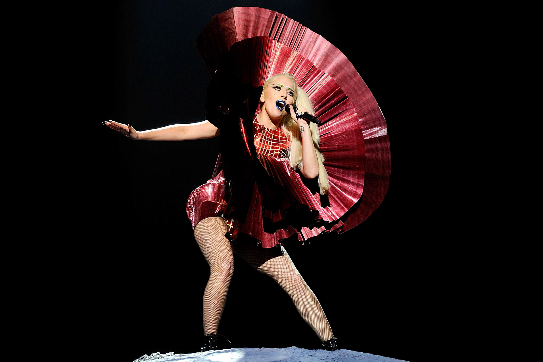 BELFAST, NORTHERN IRELAND - NOVEMBER 06:  Singer Lady Gaga performs onstage during the MTV Europe Music Awards 2011 live show at at the Odyssey Arena on November 6, 2011 in Belfast, Northern Ireland.  (Photo by Kevin Mazur/WireImage)