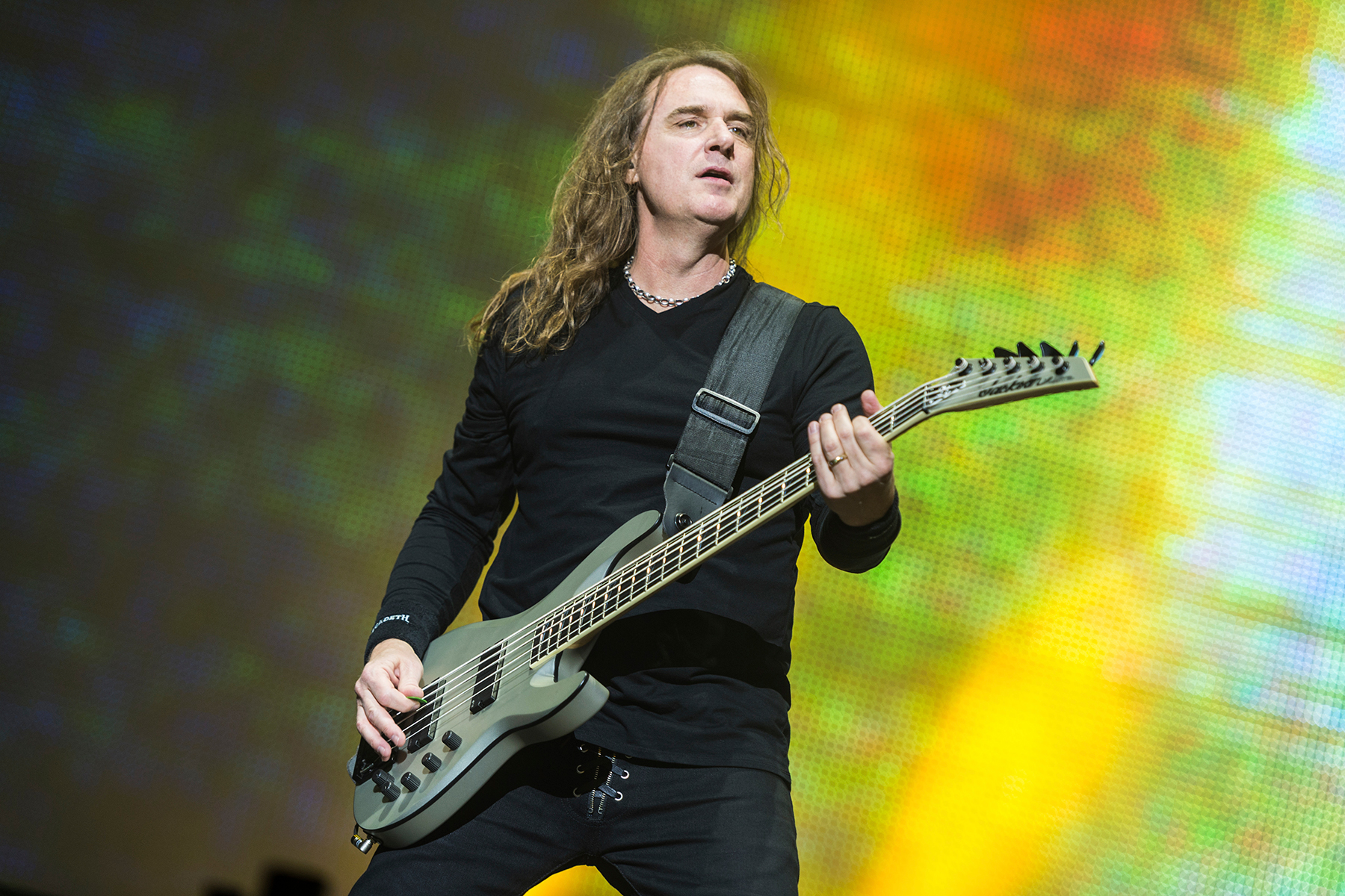 David Warren Ellefson, bass player of US metal band Megadeth, playing on the Harder Stage of the Wacken Open Air Festivals in Wacken, Germany, 04 August 2017. The Wacken Open Air takes place between 03 and 05 August 2017. Photo by: Christophe Gateau/picture-alliance/dpa/AP Images