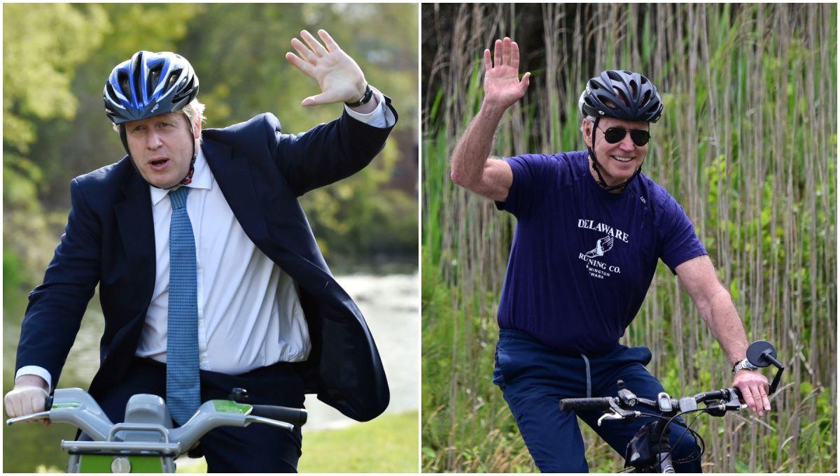 El presidente Joe Biden regala una bicicleta construida en EE. UU. A Boris Johnson