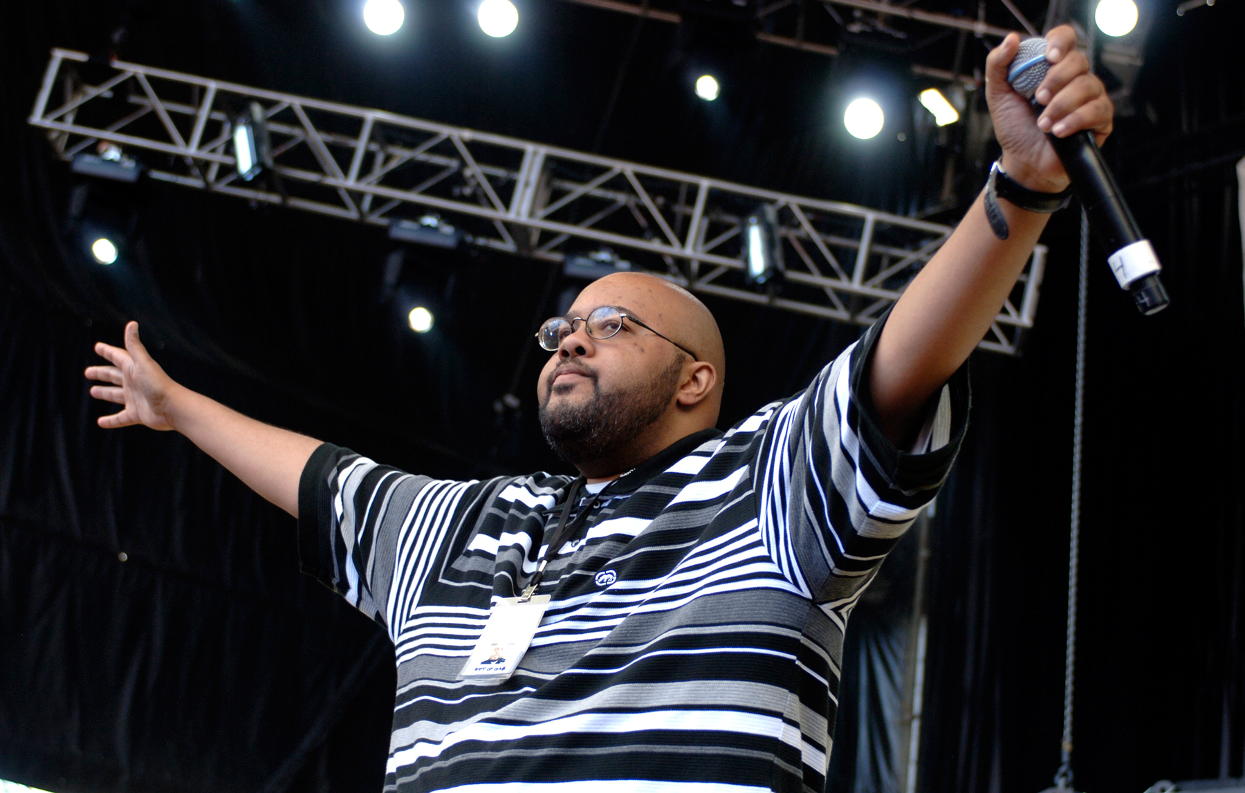 MOUNTAIN VIEW, CA - AUGUST 16: Gift of Gab of Blackalicious performs as part of the Rock the Bells Tour 2008 at Shoreline Amphitheatre August 16, 2008 in Mountain View, California. (Photo by Tim Mosenfelder/Getty Images)
