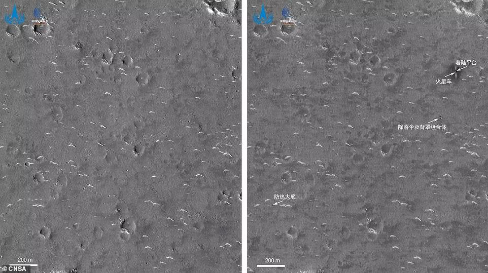 La Administración Nacional del Espacio de China (CNSA) publicó una nueva imagen de su rover Zhurong en Marte que fue capturada por el orbitador Tianwen-1 que rodeaba el Planeta Rojo.  Se puede ver un área oscura (flecha del medio) donde aterrizó el rover, que según la CNSA fue causado por la pluma del motor durante el aterrizaje.
