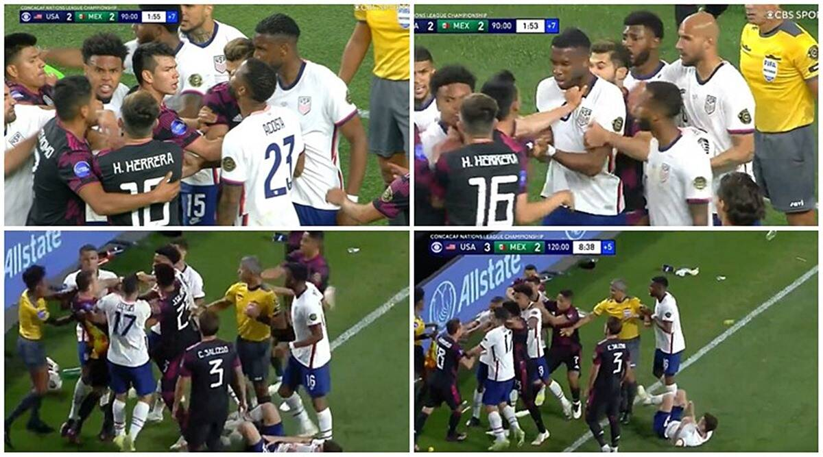usa vs mexico, football fight