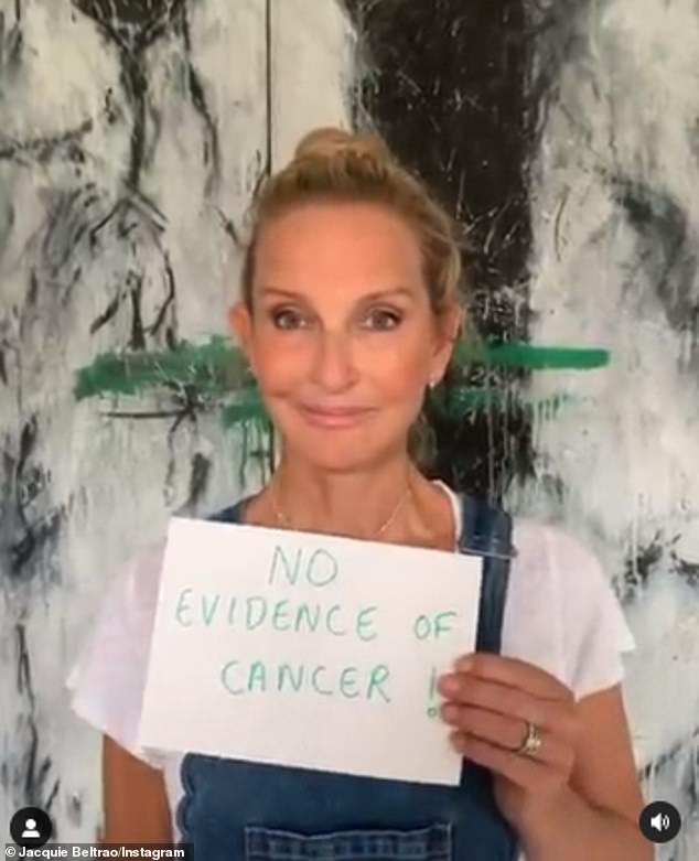 Celebración: la presentadora de deportes de Sky News, Jacquie Beltrao, de 56 años, celebró recibir un escaneo claro el sábado en medio de su batalla contra el cáncer de mama en etapa 4