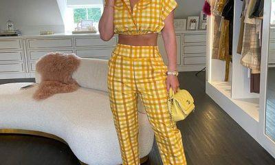 Todo amarillo: Kate Ferdinand, de 30 años, salió con un espectacular atuendo completamente amarillo en Londres el sábado, mostrando su tonificado abdomen.