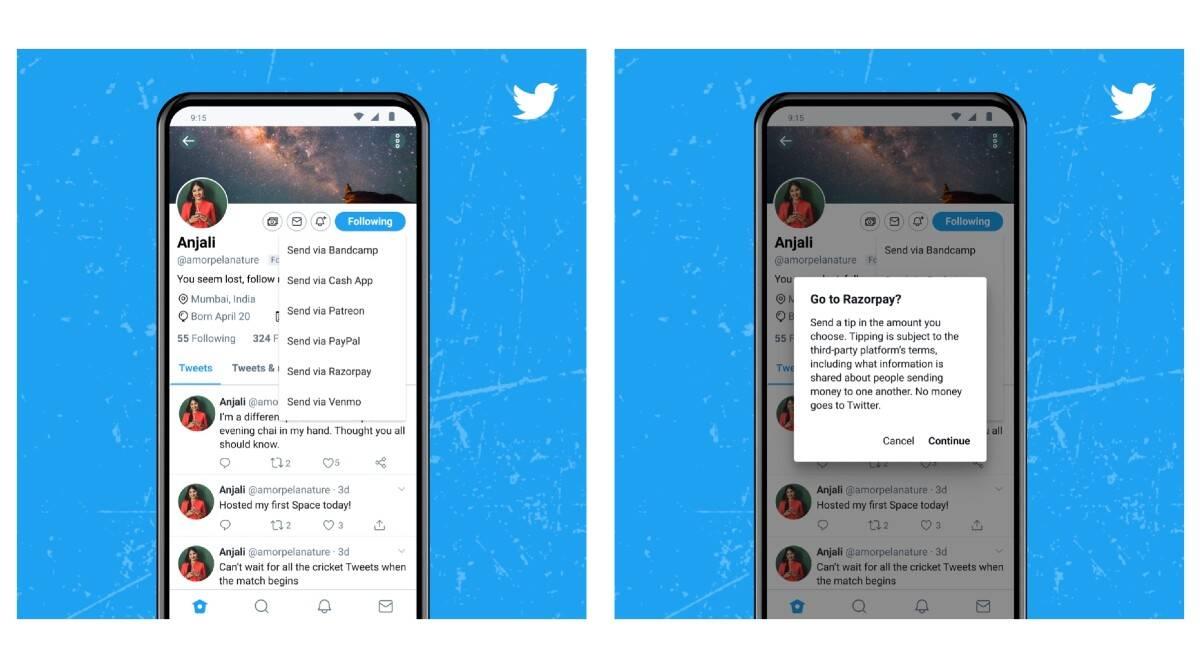 La función de pagos 'Tip Jar' de Twitter agrega la opción RazorPay para India