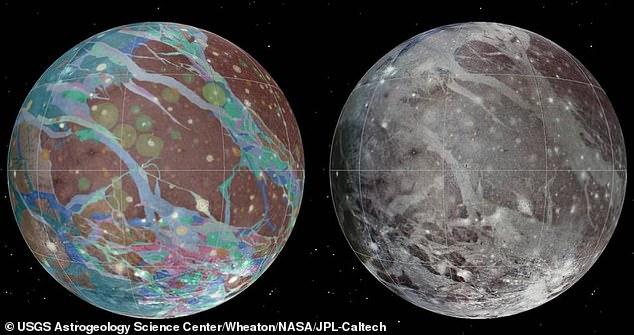 Con un diámetro de 3.280 millas, Ganímedes (en la foto) es más grande que el planeta Mercurio y el planeta enano Plutón.  Esta imagen muestra mosaicos y mapas geológicos de Ganímedes, ensamblados incorporando las mejores imágenes disponibles de las naves espaciales Voyager 1 y 2 de la NASA y la nave espacial Galileo de la NASA.