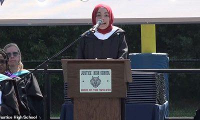Abrar Omeish, el único miembro musulmán de una junta escolar en Virginia, les dijo a los estudiantes graduados de Justice High School que recordaran la 'yihad' de su educación al comienzo el 7 de junio.