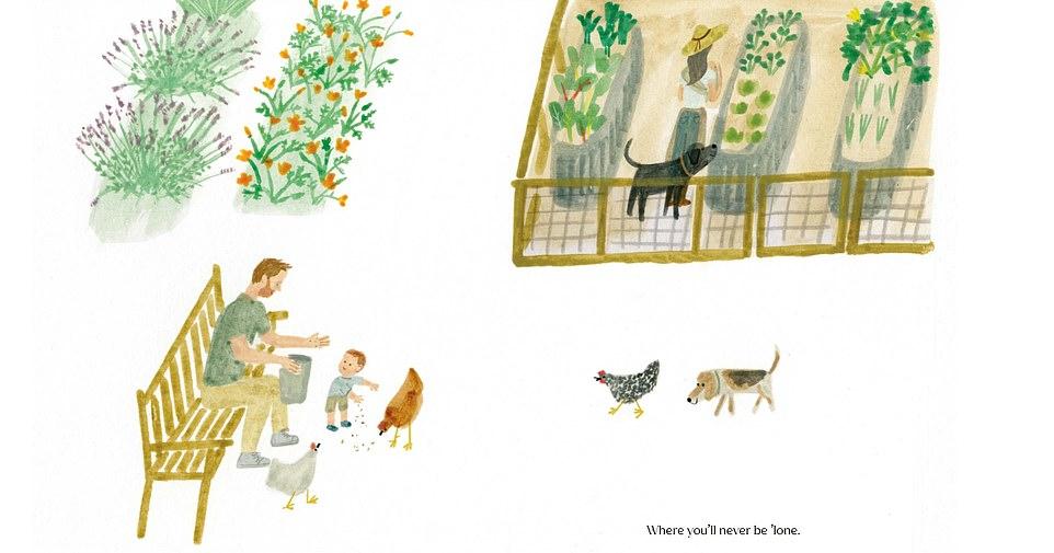 El libro para niños de Meghan Markle, The Bench, presenta una ilustración del príncipe Harry y su hijo Archie alimentando a sus pollos mientras la duquesa está en el jardín con sus perros (en la foto)