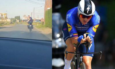 Yves Lampaert vuelve a casa con alforjas en su bicicleta después de ganar el título belga de contrarreloj