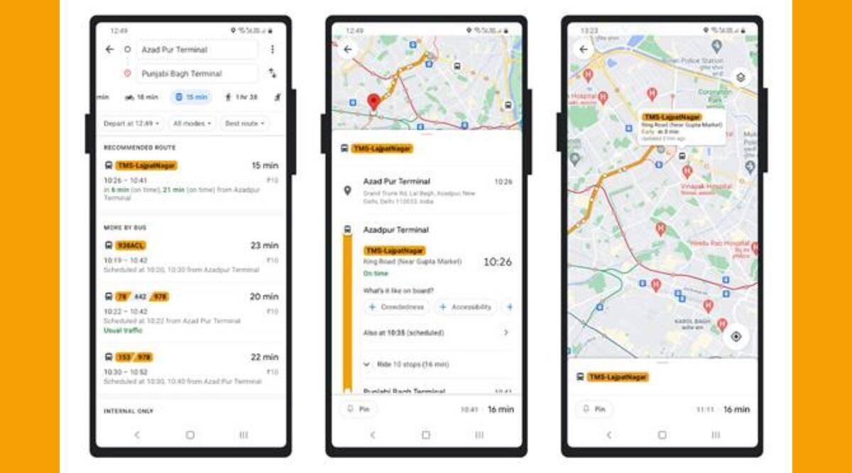 Google Maps, Google Maps Delhi buses,