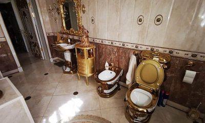 El hombre del tapón de oro: un coronel de la policía rusa despedido por corrupción tenía una casa lujosamente decorada que incluía un inodoro dorado (derecha)