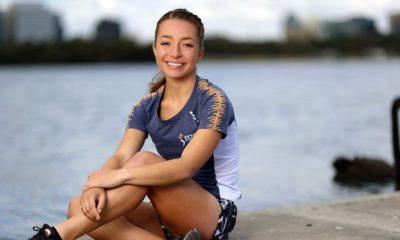 Caminante de carreras australiano y joven líder del COI impactando en Tokio