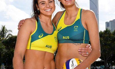 Jugadores de voleibol de playa australianos Mariafe Artacho del Solar (izquierda) y Taliqua Clancy (derecha)