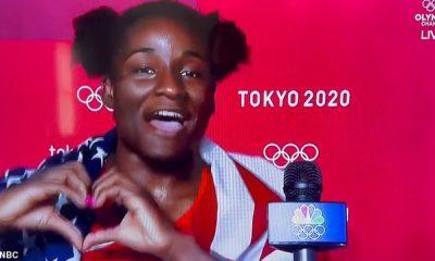La luchadora de mujeres Tamyra Mensah-Stock mostró su orgullo nacional después de ganar el oro en la lucha libre de mujeres, y le dijo a su entrevistador: 'Me encanta representar a los EE. UU., Me encanta vivir allí'.