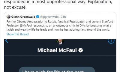 El ex embajador de Rusia, Michel McFaul, dijo que no esperaba que su alarde 'arrogante' ante un usuario anónimo de Twitter fuera publicado públicamente.