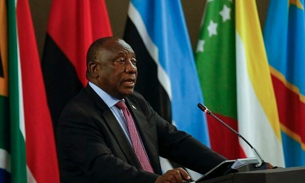 Cyril Ramaphosa delivering opening remarks during the Extraordinary Summit of the SADC Organ Troika Plus the Republic of Mozambique at the OR Tambo Building in Pretoria.
